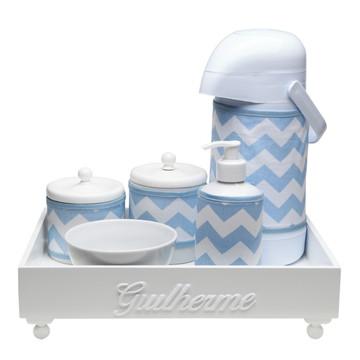 Kit Higiene Madeira Azul Chevron Porcelana Cotonete Bebê