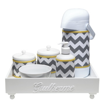 Kit Higiene Madeira Cinza Chevron Amarelo Porcelana Bebê