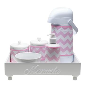 Kit Higiene Madeira Rosa Chevron Porcelana Cotonete Bebê