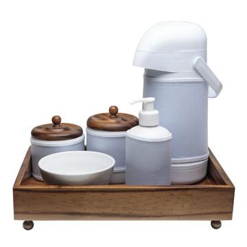 Kit Higiene Madeira Clássico Porcelana Bebê Garrafa Bandeja