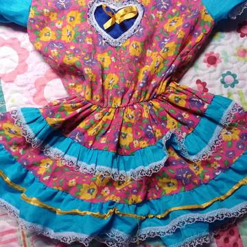 vestido de festa /tamanho único com elástico infantil