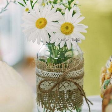 Garrafinhas de Vidro juta renda Decoração Casamento rústico