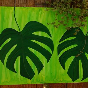 """Quadro """"Folha COSTELA DE ADÃO"""" pintado a mão 36x47cm!"""