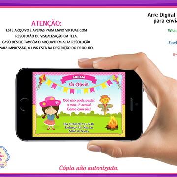 Convite Digital Arraiá Menina
