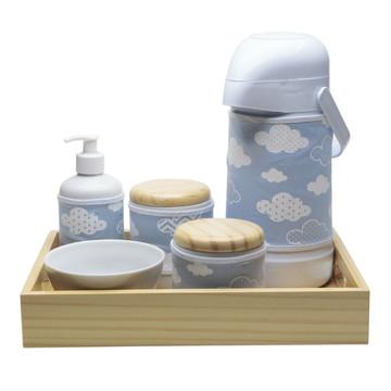 Kit Higiene Madeira Azul Chevron Nuvem Quarto Porcelana Bebê
