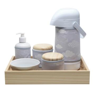 Kit Higiene Madeira Cinza Chevron Nuvem Porcelana Bebê Potes