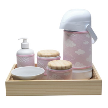 Kit Higiene Madeira Rosa Chevron Nuvem Quarto Porcelana Bebê