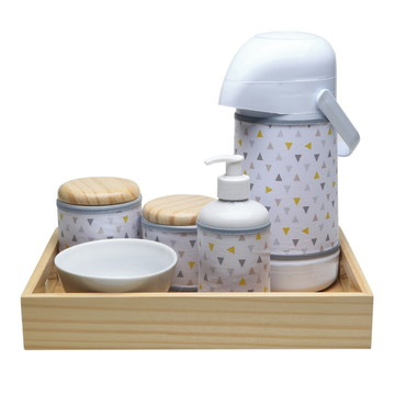 Kit Higiene Madeira Moderno Cinza Amarelo Porcelana Bebê
