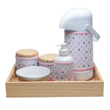 Kit Higiene Madeira Moderno Potes Porcelana Quarto Bebê Rosa