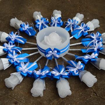 Vela Valsa 15 Anos branco a azul royal