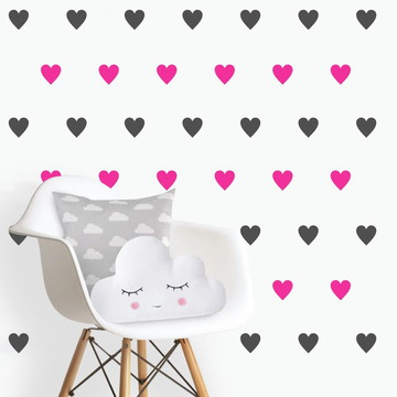 Adesivo corações pink e cinza escuro