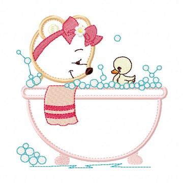 Matriz Bordado Ursinho no Banho Agulha Feliz Matrizes