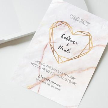 Convite Digital Casamento Mármore Coração Geométrico