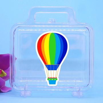 Maletinha de acrílico com adesivo- balão