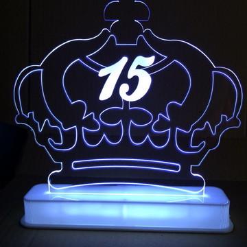 Topo de Bolo Coroa 15 Anos Iluminado
