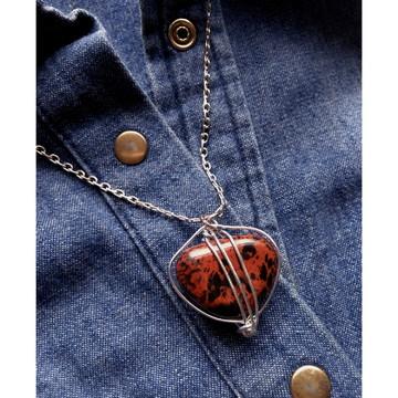 Colar Obsidiana Mogno - A Pedra Divina, Força Interior