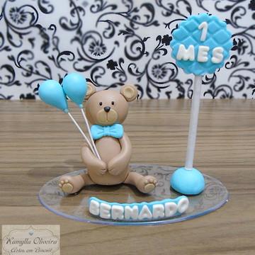 topo de bolo mêsversário ursinho biscuit
