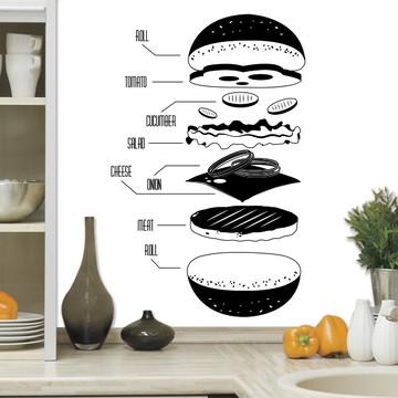 Adesivo de Parede Cozinha Camadas de Lanche-M 58x90cm