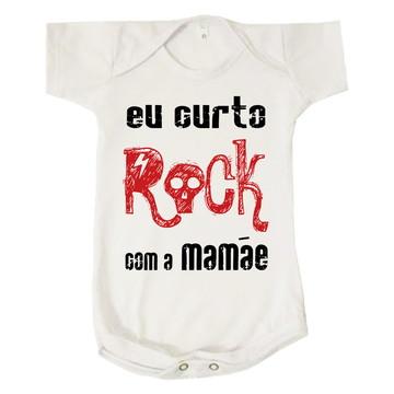 Body Bebê Infantil Eu Curto Rock com a Mamãe Presente
