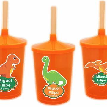 Adesivo para Copo com Canudo Shake Twister Dinossauros