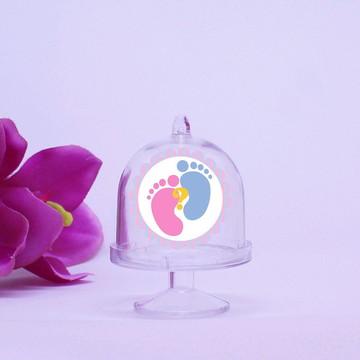 Mini-cúpula com aplique - chá de revelação do sexo do bebê