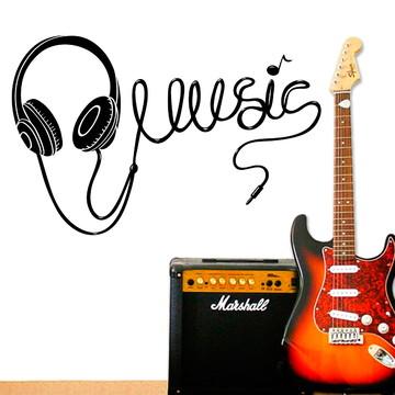 Adesivo de Parede Música Fone de Ouvido-G 90x58cm