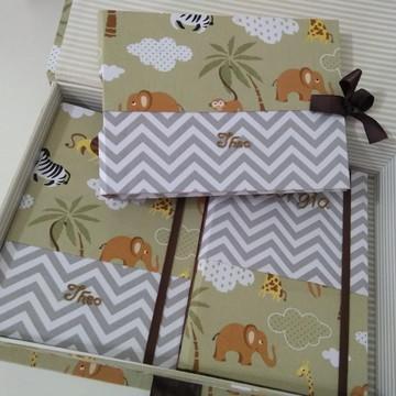 Kit diario gravidez livro do bebê album de fotos com caixa