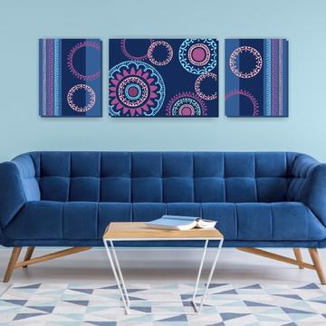 Trio de Telas Decorativas Henna Azul/Lilás