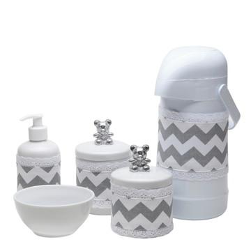Kit Higiene Ursinho Prata Bebe Porcelana Potes Garrafa Urso
