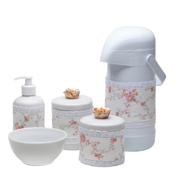 Kit Higiene Bebe Potes Garrafa Porcelana Flor Flores Dourada