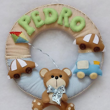 Guirlanda porta maternidade ursinho de feltro