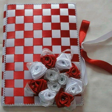 Caderno decorado com fita de cetim