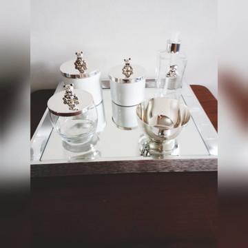 Kit ursinho porcelana, vidro tampa prata
