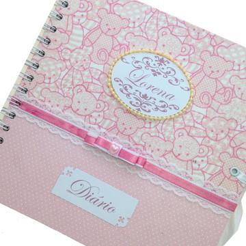 Diario bebe luxo rosa espiral
