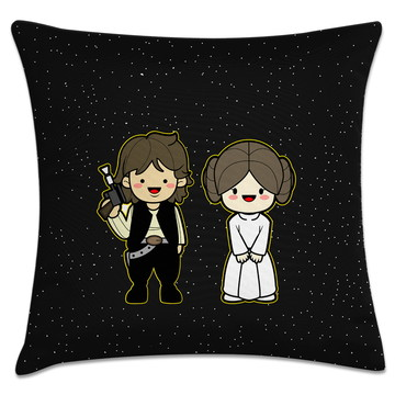 capa almofada star wars - Leia e Han Solo