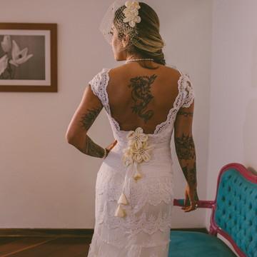 Vestido de noiva Boho chic- Modelo Valençay