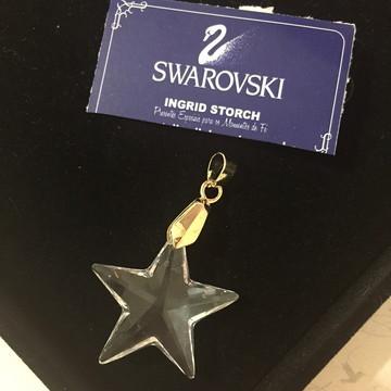 Pingente estrela 5 pontas Swarovski-folh