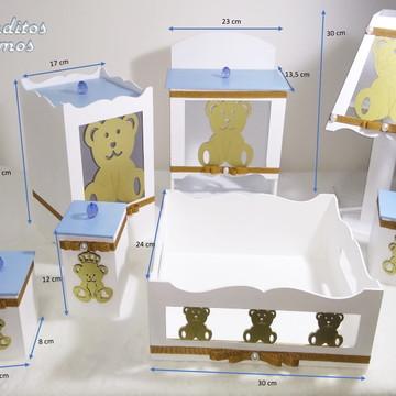 Kit higiene para bebê em MDF c/ 7 Peças