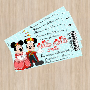 Convite Ingresso Mickey e Minnie - Arte Digital