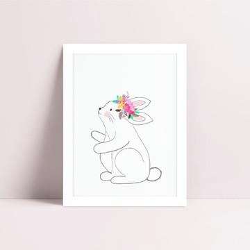 Quadro Coelhinho Flores