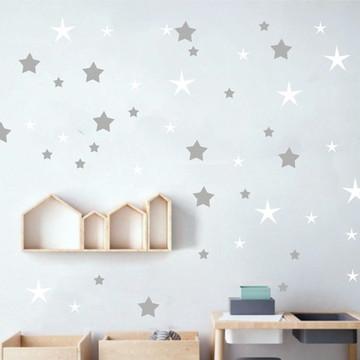 Adesivo estrelas branco e cinza