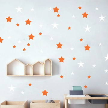 Adesivo estrelas branco e laranja