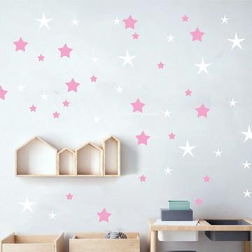 Adesivo estrelas branco e rosa
