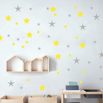 Adesivo estrelas cinza e amarelo
