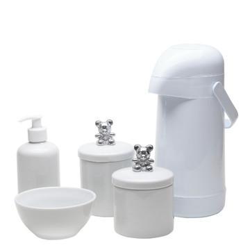 Kit Higiene Bebe Porcelana Potes Garrafa Urso Ursinho Prata