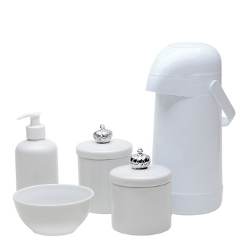 Kit Higiene Bebe Coroa Prata Porcelana Pote Garrafa Prateado
