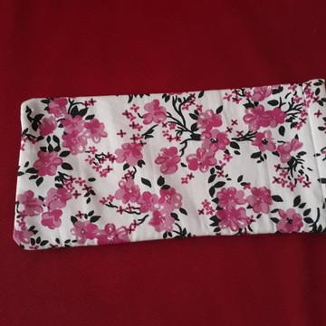 Porta-óculos estampa floral rosa