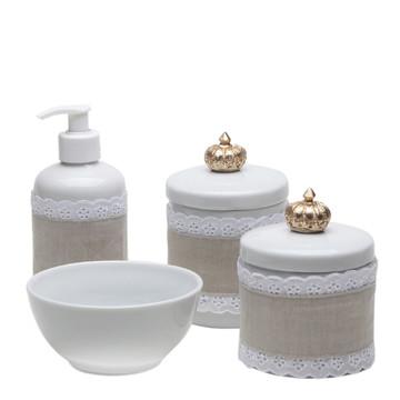 Kit Porcelana Bebe Potes Molhadeira Coroa Dourada Capa