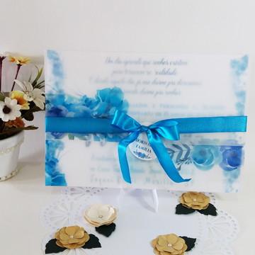 Convite 15 anos Azul Vegetal