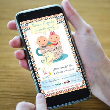 Convite Chá De Bebê para Casal de Gêmeos - DIGITAL